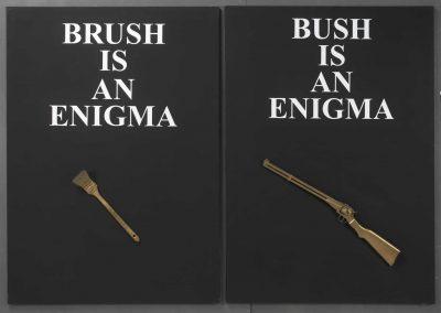 Sarenco Brusch & Bush 2002 dittico collage e acrilico su tela cm.140 x 200